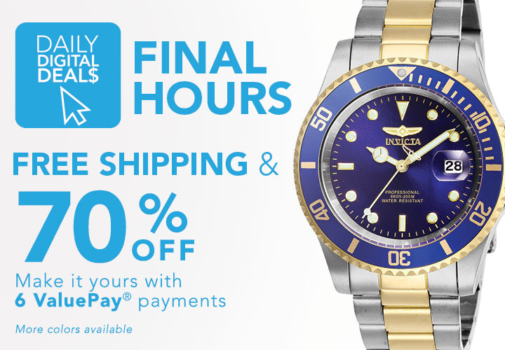 FINAL HOURS DAILY DIGITAL DEALS FREE SHIPPING & 70% OFF at Evine - 661-518 Invicta 40mm Pro Diver Quartz Magnified Date Window Stainless Steel Bracelet Watch