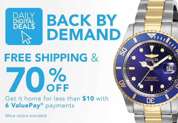 DAILY DIGITAL DEALS FREE SHIPPING & 70% OFF at Evine - 661-518 Invicta 40mm Pro Diver Quartz Magnified Date Window Stainless Steel Bracelet Watch