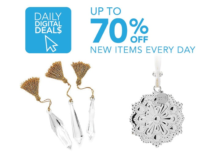 Daily Digital Deals  Up To 70% Off New Items Added Daily at Evine - 475-628 Waterford Annual Holiday Choice of Silver-tone Ornament,  474-269 Waterford Crystal Set of 3 (4.5) Chandelier Drop Ornaments w Gold-tone Tassels