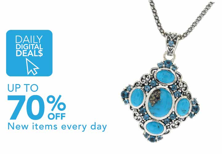 Daily Digital Deals  Up To 70% Off  New Items added daily at Evine - 179-439 Artisan Silver by Samuel B. Persian Turquoise & Topaz Pendant w 18 Chain