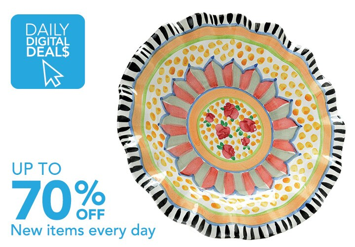 DAILY DIGITAL DEALS UP TO 70% OFF New items added daily at Evine - 472-658 MacKenzie-Childs Taylor Handmade Stoneware Luncheon or Dinner Fluted Plate
