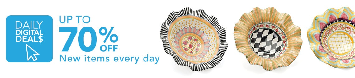 DAILY DIGITAL DEALS UP TO 70% OFF New items added daily at Evine - 472-668 MacKenzie-Childs Taylor Handmade Stoneware Serving Bowl