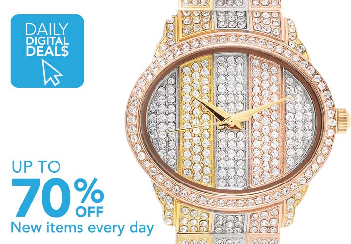 DAILY DIGITAL DEALS UP TO 70% OFF New items added daily at Evine - 669-852  St. Lucia Women's Quartz Tri-Color Crystal Accented Bracelet Watch