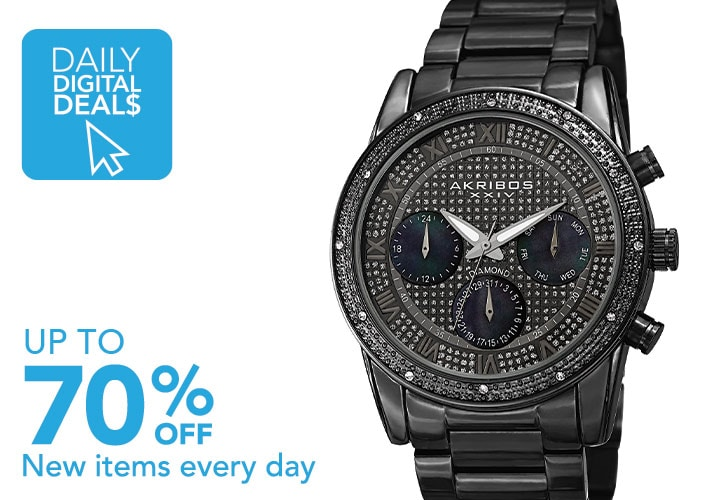DAILY DIGITAL DEALS UP TO 70% OFF New items added daily at Evine - 668-314 Akribos XXIV Men's 42mm Quartz Diamond Accented Dial Stainless Steel Bracelet Watch