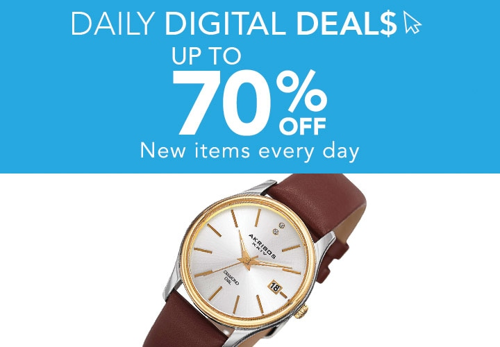 Up To 70% OFF - New items every day at ShopHQ - 648-933 Akribos XXIV Women's Quartz Diamond Accented Date Leather Strap Watch -