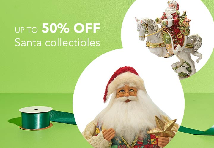 Up to 50% OFF Santa collectibles at Evine - 475-150 Karen Didion Originals All the Trimmings Santa Limited Edition 21 Collectible - Signed, 484-493 FITZ AND FLOYD Damask Holiday 16 Earthenware Santa on Horse Figurine