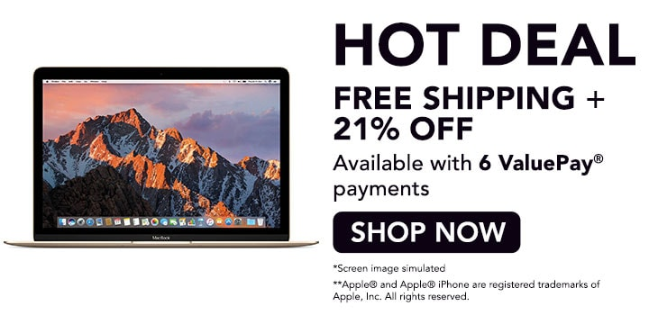 HOT DEAL FREE SHIPPING + 21% OFF - 481-957 Apple® MacBook 12 1.2GHz Intel Core m3 256GB SSD  8GB RAM Laptop Computer - Refurbished