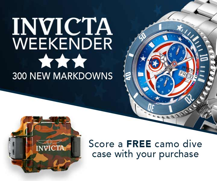 INVICTA WEEKENDER 300 NEW MARKDOWNS  Score a FREE camo dive case with your purchase at Evine - 667-174 Invicta Reserve Marvel Men's 47mm Grand Diver Limited Edition Swiss Automatic Chronograph Watch