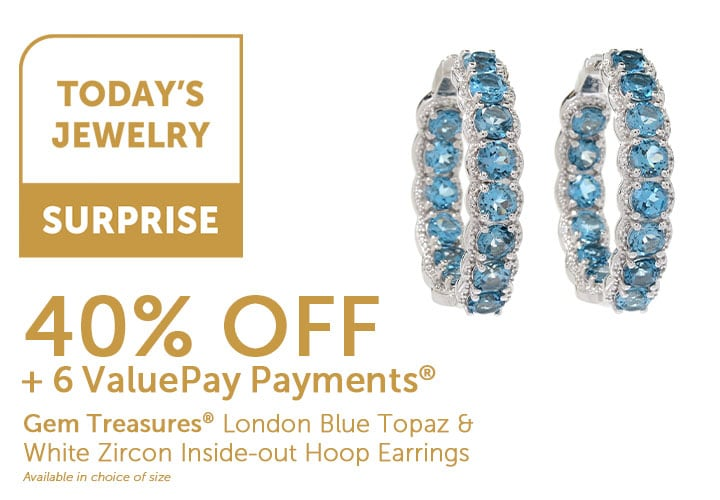 Today's Jewelry Surprise - 185-336 - Gem Treasures London Blue Topaz & White Zircon Inside-out Hoop Earrings     Available in choice of size 40% Off + 6 ValuePay Payments