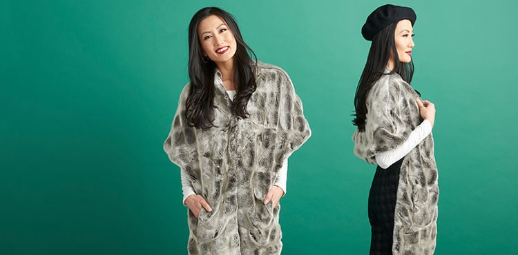 Indulge in animal-friendly luxury for both men and women. at ShopHQ - 738-229 - Donna Salyers' Fabulous-Furs Couture Faux Fur 2-Pocket V-Neck Hook Front Shawl