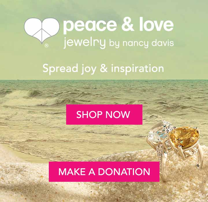 PEACE & LOVE JEWELRY BY NANCY DAVIS | RACE TO ERASE MS Spread joy & inspiration at Evine - 180-655 Peace & Love Double Heart Gemstone & White Topaz Bypass Ring, 180-662 Peace & Love Legacy 16 Heart Cut Gemstone Graduated Necklace w 4 Extender