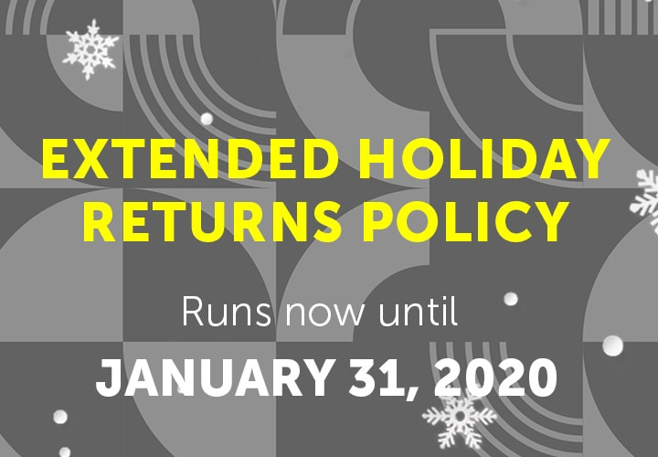Extended Holiday Returns Policy runs now until January 31, 2020 at ShopHQ