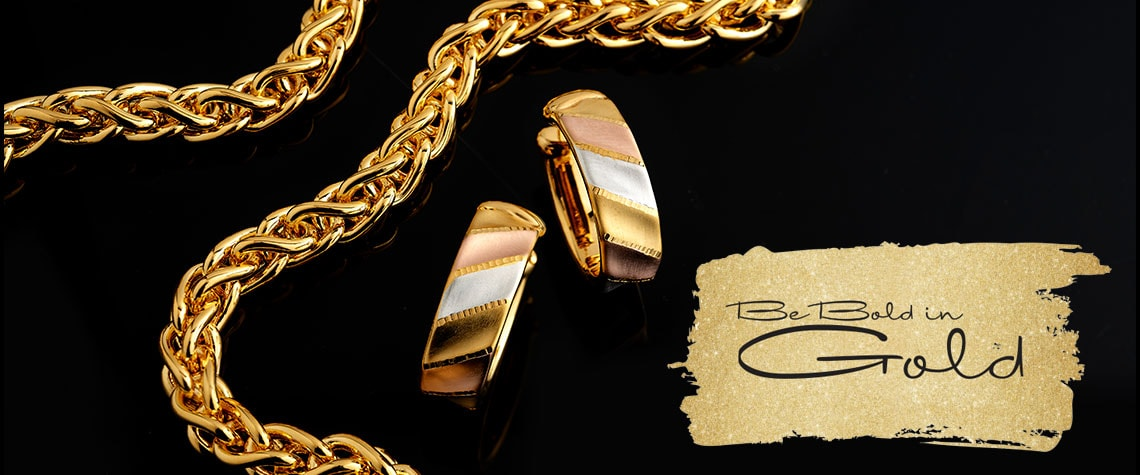 BE BOLD IN GOLD MONTH - 178-465 VOGA Collection 18K Gold 20 Electroform Spiga Link Necklace w 0.5 Extender, 180-115 VOGA Collection 18K Tri-Color Gold 1 Electroform Satin Finished Hoop Earrings