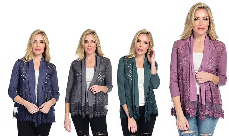 New Items Added Daily at Lowest Prices Ever at ShopHQ | 740-580 Indigo Thread Co.™ Mixed Media 34 Sleeve Open Front Shawl Collar Cardigan