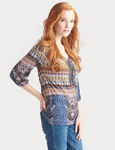 ONE WORLD CUSTOMER CHOICE STYLES at Evine - 729-385 One World Printed Knit 34 Bishop Sleeved Lace-up Front Peasant Top
