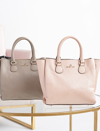 HIGH END HANDBAGS  - 740-703 Celine Dion Collection Adagio Pebbled Leather Satchel w Removable Strap