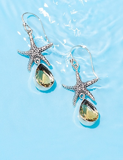 ANIMAL JEWELRY at Evine - 179-223 Artisan Silver by Samuel B. 1.5 Pear Cut Gem & Starfish Drop Earrings