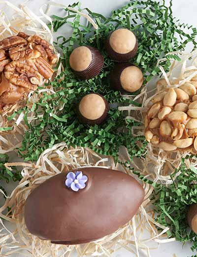 WAGGONER CHOCOLATES FILL THOSE EASTER BASKETS at Evine - 474-165 Waggoner Chocolates 3 (7.5 oz) Hand-Crafted Spring Eggs w Assorted Buckeyes