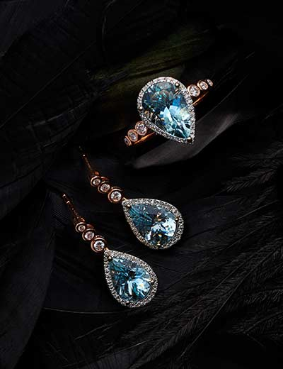 UP TO 40% OFF EFFY DIAMONDS WITH A TWIST at Evine - 168-820 EFFY Aquarius 14K Two-tone Gold 3.76ctw Pear Cut Aquamarine & Diamond Earrings, 167-021 EFFY Aquarius 14K Two-tone Gold 2.75ctw Pear Cut Aquamarine & Diamond Halo Ring