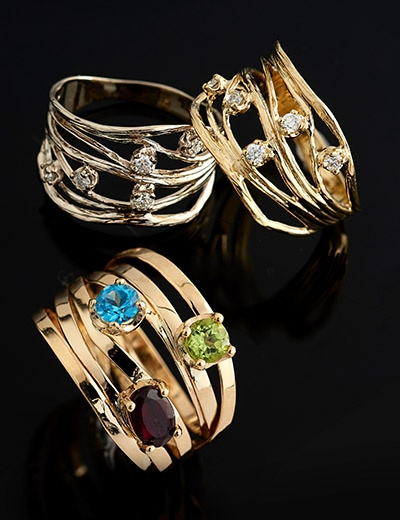 Up to 40% OFF Gold Sale & Clearance at Evine - 180-330 Golden Odyssey 14K Gold 0.15ctw Diamond Scattered Ring, 180-333 Golden Odyssey 14K Gold 1.11ctw Blue Topaz, Garnet & Peridot Highway Ring