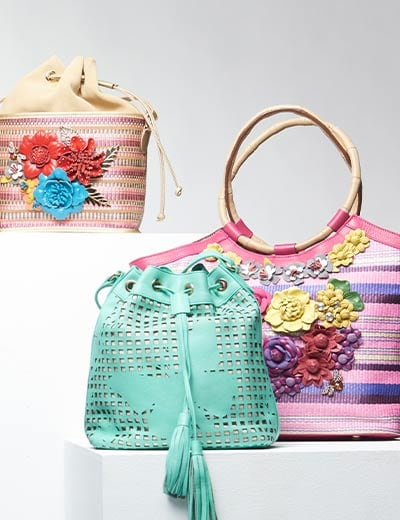 UP TO 60% OFF CROWD PLEASERS TOP RATED SHARIF HANDBAGS at Evine - 737-211 Sharif Faraasha Tile Laser Cut Leather Butterfly Drawstring Bucket Bag w Keychain, 737-217 Sharif Basket of Love Woven & Leather Floral Applique Tote Bag w Wristlet, 737-216 Sharif Museum Memory of Mom Woven, Suede & Leather Applique Drawstring Bucket Bag