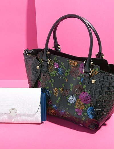 YOU-NIQUE HANDBAGS at Evine - 741-518 Madi Claire Chrissy Croco Embossed Leather Organizer Clutch Wallet w Strap, 741-516 Madi Claire Sabrina Croco & Floral Embossed Leather Satchel w Removable Strap