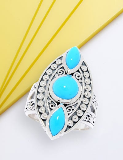 NEW HANDCRAFTED DESIGNS ARTISAN JEWELRY BY SAMUEL B. at Evine - 181-315 Artisan Silver by Samuel B. Sleeping Beauty Turquoise 3-Stone Mini Shield Ring