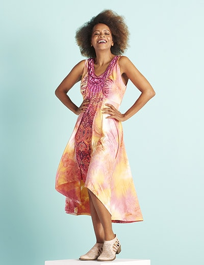 MUST-HAVE ONE WORLD at Evine - 717-190 One World Micro Jersey Knit Tie-Dye Sleeveless Hi-Lo Dress