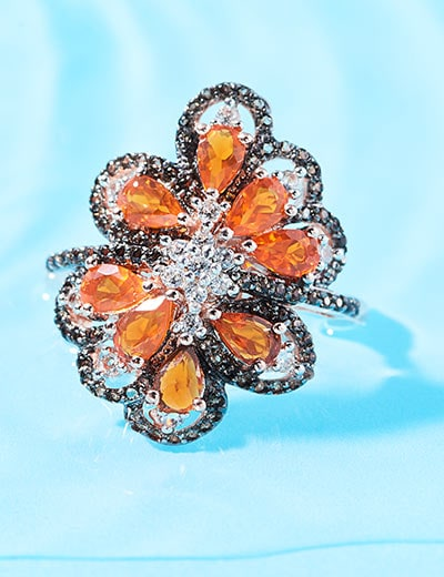 VICTORIA WIECK DARE TO DAZZLE at Evine - 179-380 Victoria Wieck Collection 2.00ctw Fire Opal, Smoky Quartz & White Zircon Ring