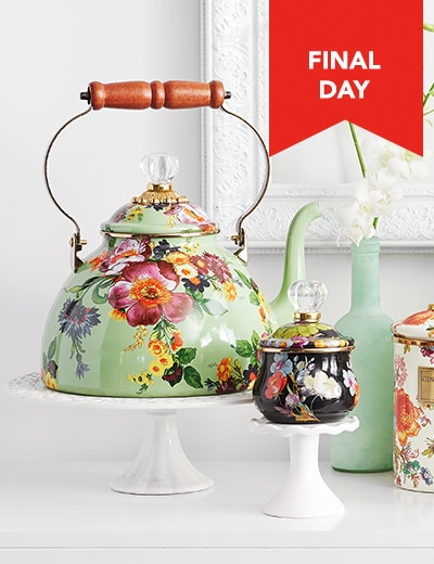 MACKENZIE-CHILDS NEW ARRIVALS COUNTDOWN TO SAVINGS at Evine -   467-989 - MacKenzie-Childs Hand-Decorated Enamelware Tea Kettle