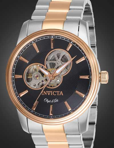 INVICTA COLLECTION STARTERS at Evine - 670-145 Invicta Men's 44mm Objet D Art Automatic Open Heart Stainless Steel Bracelet Watch