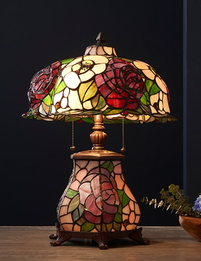 Tiffany-Style Lighting at ShopHQ - 484-260 Tiffany-Style 3D Bending Flowers 16.5 Double Lit Stained Glass Table Lamp