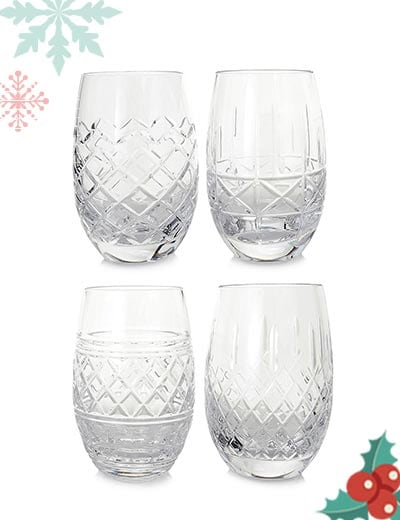 Waterford Live from NYC Featuring Elegant New Designs - 486-030 Waterford Crystal Castle Set of 4 (12 oz) Stemless White Wine Glasses