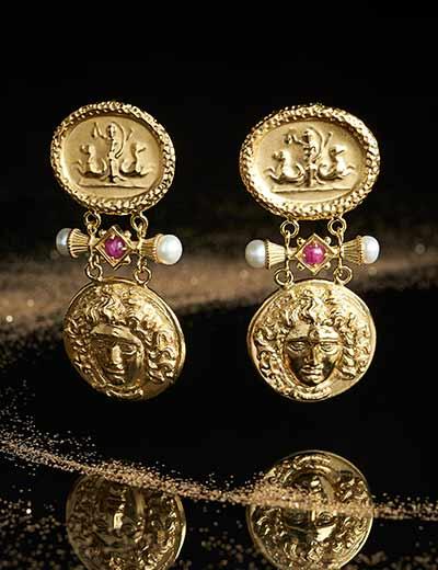 ITALIAN JEWELRY FAIR EVENT ENCORE at Evine - 162-994 Tagliamonte 18K Gold 2 Medusa Intaglio Gemstone & Freshwater Cultured Pearl Drop Earrings