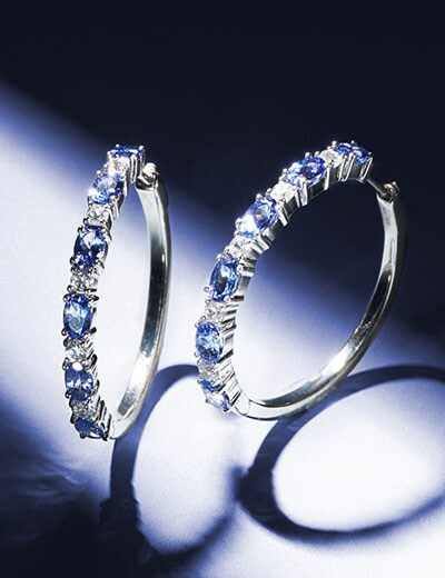 Gem Talk Sundays with Chuck at Evine - 174-406 Gem Treasures® Sterling Silver Choice of Length Tanzanite & White Zircon Hoop Earrings