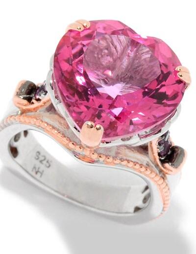 PINK & RED GEMS at Evine - 157-502 Gems en Vogue 11.16ctw Heart Shaped Pink Topaz & Rhodolite Ring