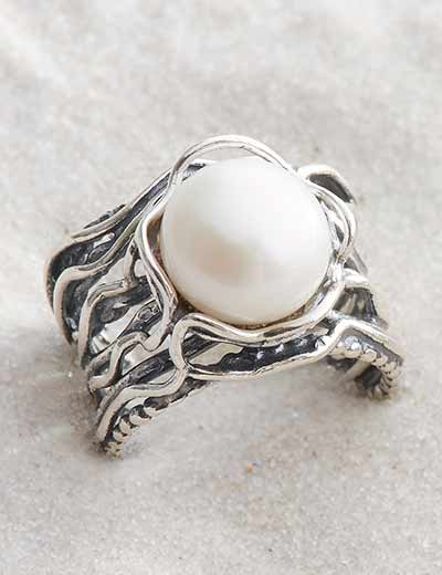 STERLING SILVER SALE & CLEARANCE at Evine - 162-899 Passage to Israel™ Sterling Silver 10.5mm Freshwater Cultured Pearl Vinework Ring