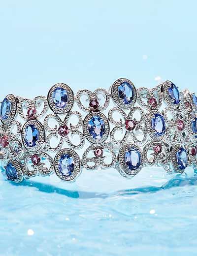UP TO 50% OFF TANZANITE DREAMY PURPLE-BLUE HUES at Evine -  179-594 Gem Treasures® 11.76ctw White Zircon, Tanzanite & Pink Tourmaline Cuff Bracelet