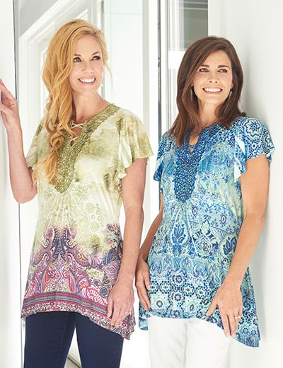 TRENDING TOPS at Evine - 737-764 One World Micro Jersey Knit Flutter Sleeve Embellished Notch Neck Tunic