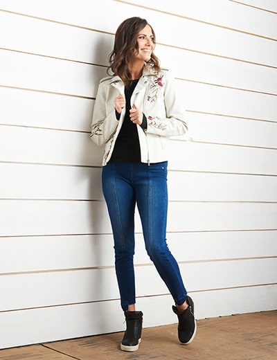WAKE UP IN STYLE® at Evine - 740-202 Kate & Mallory® Embroidered Faux Leather 2-Pocket Asymmetrical Zip Moto Jacket
