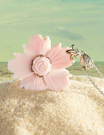 GEMS EN VOGUE THE L.A. STONES YOU NEED At Evine - 169-213 Gems en Vogue 40 x 30mm Pink Conch Shell Flower Pendant w 18 Cable Chain