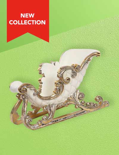 MARK ROBERTS SEE THE NEW COLLECTION at Evine - 476-121 Mark Roberts Gilded 18.5 Resin Sleigh