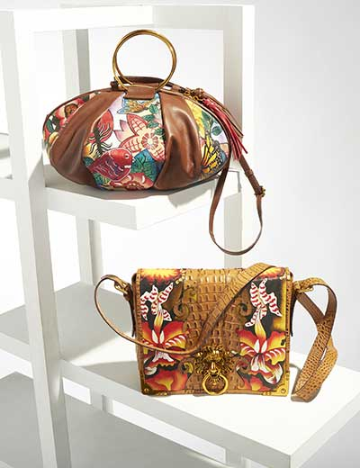 SHARIF HANDBAGS HOLD THE DISTINCTION at ShopHQ  - 743-969 Sharif Hand-Painted Leather Flap-over Lion Knocker Crossbody Bag - 743-965 Sharif Hand-Painted Leather Balloon Shaped Top Handle Bag w Strap