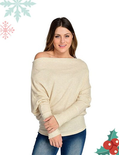 Wake up in Style Featuring the Premiere of Elan at ShopHQ 745-708 Elan Waffle Knit Dolman Sleeve Off-the-Shoulder Drape Front Top