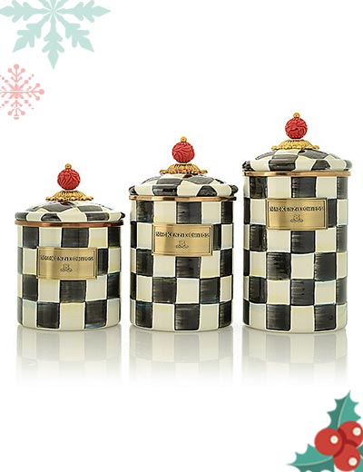 MacKenzie-Childs - 467-969 MacKenzie-Childs Set of 3 Hand-Decorated Enamelware Covered Canisters