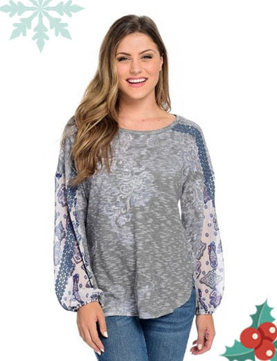 One World - 744-194 One World Textured Knit & Chiffon Lace Trimmed Lantern Sleeve Top