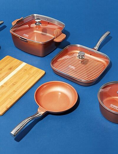 COOKING ESSENTIALS at Evine - 476-603 Cook's Companion® Perfect Weight Ditanium Ceramic Nonstick 12-Piece Cookware Set