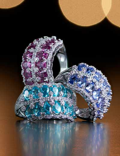 VICTORIA WIECK GEMSTONES IMPECCABLE STYLE at Evine - 178-643 Victoria Wieck Collection Sterling Silver Gem & White Zircon 2-Row Band Ring