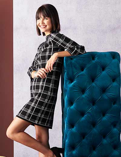 TOP RATED FASHION BELOVED BRANDS FOR LESS at Evine - 739-545 Gramercy 22™ Sweater Knit 34 Bell Sleeve Pleated Detailed Plaid Shift Dress