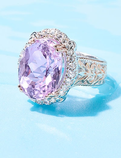 KUNZITE at Evine - 178-888 Gems en Vogue 13.56ctw Kunzite & White Zircon Halo Ring